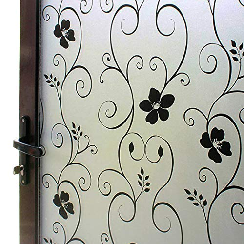 DUOFIRE Window Film Black Flower Pattern Privacy Window Film Frosted Glass Film No Glue Static Cling Glass Film Anti-UV Window Sticker For Bathroom Bedroom Living Room 35.4in. x 118in. DP014B