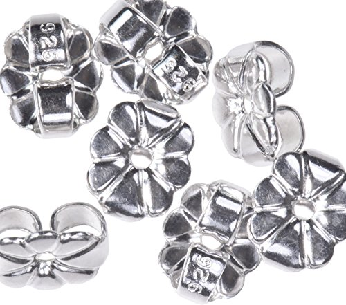6 Pairs Sterling Silver Butterfly Earring Backs 6mm