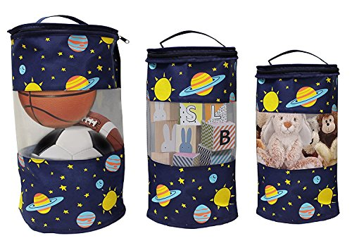 Earthwise Toy Storage Bags - Organizing Kid's Toys Colorful Cute Planets and Stars Print Set of 3 Small, Medium and Large Tote w/ Zipper Closure and Top Handle for easy (Toilet Plunger Costume)