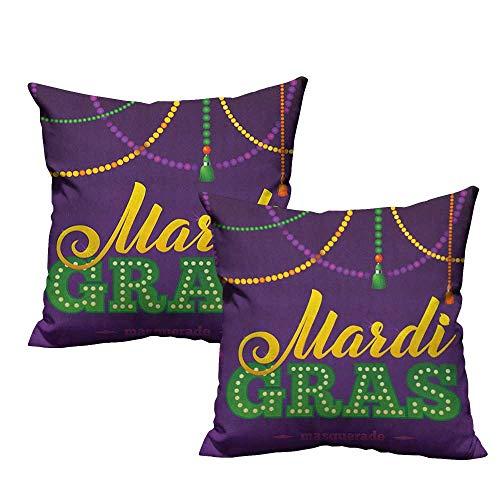 RuppertTextile Couple Pillowcase Mardi Gras Beads and Tassels Masquerade Theme Calligraphy Design Fun Print Mildew Proof W18 xL18 2 -