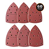 60PCS Sanding Sheets, Mouse Sander Pads to Fit for Bosch Multi-Sander PSM 100A, PSM 200 AES, PSM 18 and All Oscillating Multi-Tool, 10Pcs Each Assorted 40/60/80/120/180/240 Grits