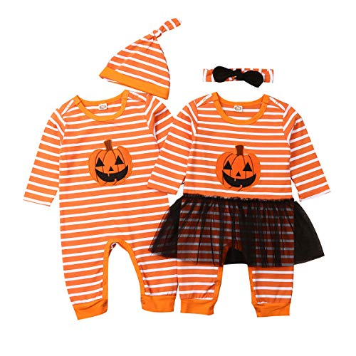 Twin Infant Halloween Costumes (Newborn Baby Halloween Outfit Girl Boy Twins Pumpkin Romper Jumpsuit Striped Bodysuit Costume with Hat Headband (12-18 Months,B-Girl Romper +)