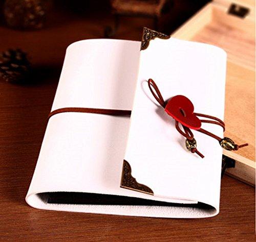 Leaf Album (Longpro Creative DIY Loose-leaf Photo Album Leatherette Binded Album Series Anniversary Scrapbook (Heart, White))