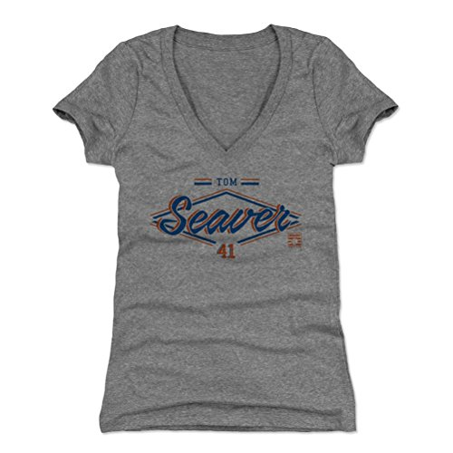 500 LEVEL Tom Seaver Women's V-Neck Shirt Small Tri Gray - Vintage New York Baseball Women's Apparel - Tom Seaver Zone B