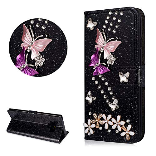 Crystal Diamond Glitter Leather Wallet Case for Samsung Galaxy Note 9,DasKAn Butterfly Flower 3D Rhinestone Bling Folio Flip Cover with Card Holder Magnetic Closure Stand Protective Phone Case,Black