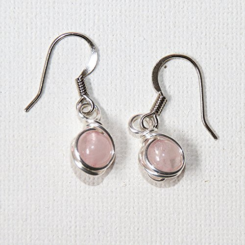 Pink Rose Quartz Crystal Beads Dangle Earrings Semi Precious Jewelry