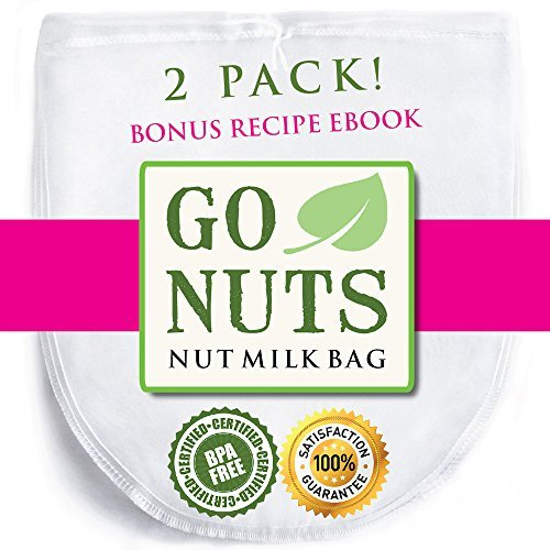 - 2-PACK Best Nut Milk Bag - Restaurant Commercial Grade by GoNuts - Cheesecloth Strainer Filter For the Best Almond Milk, Cold Brew Coffee, Tea, Juicing, Yogurt, Tofu - BPA-Free Nylon 12