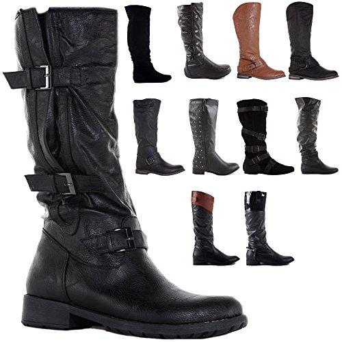 Winter Low Knee 8 Heel Pirate Calf Style Style Womens 3 Flat Boots 8 Size Leg Biker Black SIwxBq1Cd