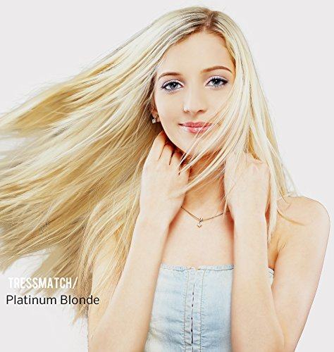 "TRESSMATCH 20"" (22"") Remy Human Hair Clip in Extensions Platinum Blonde (Color #60) 9 Pieces Full Head Set 4.3oz (122grams)"
