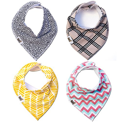 Baby Bandana Bibs for Drooling ~ Cute Baby Bibs That Make Great Gifts for Baby Showers and a Newborn Baby ~ Keep Your Baby Boy or Baby Girl Stylish and Comfy (4 Pack, Various Colors)