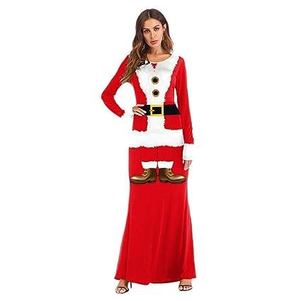 Qiusa Donne Natale Babbo Natale Costume Cosplay Vestito Stampato 3D Ball  Ladies Girl Party Abito Lungo d2eb9b8ede1