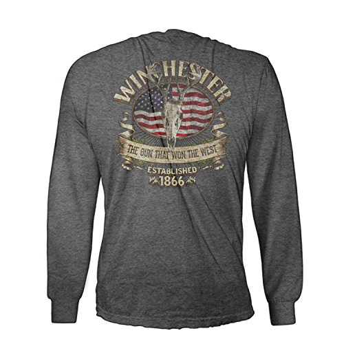 Official Winchester Mens Cotton Southern Rebel Skull Graphic Long Sleeve T-Shirt (XL, Graphite Heather)