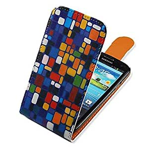 GOG-Square Matching Up-down Turn Over PU Leather Full Body Case for Samsung Galaxy S3 I9300
