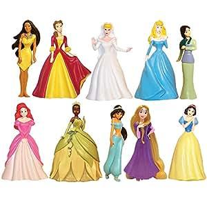 Disney Princess 10 pc Figure Collection Cinderella, Sleeping Beauty, Belle, Ariel, Pocahontas, Tiana, Jasmine, Snow White, Rapunzel, Mulan