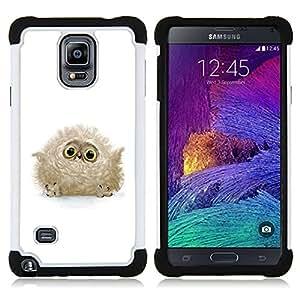 - fluffy owl baby bird grey big eyes cute/ H??brido 3in1 Deluxe Impreso duro Soft Alto Impacto caja de la armadura Defender - SHIMIN CAO - For Samsung Galaxy Note 4 SM-N910 N910
