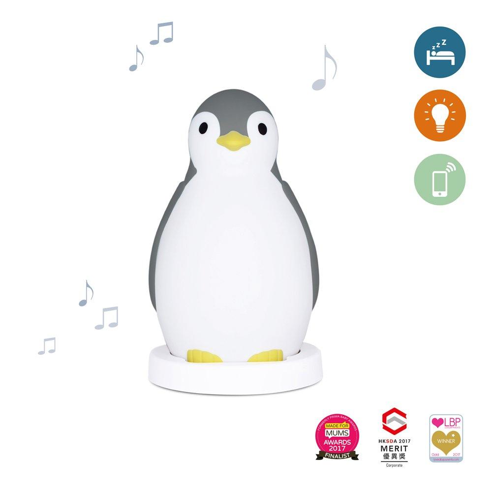 Zazu Kids Pam The Penguin Sleep Trainer and Night Light with wireless Speaker, Grey