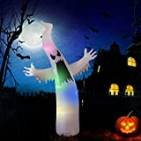 YUNLIGHTS Halloween Inflatable Decorations for Halloween 6 Ft Ghost with 8 Multicolor Lights