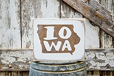MINI Iowa Rustic Wood Signs - Whitewash State Signs - Home State Decor - Personalized State Sign 6x7in