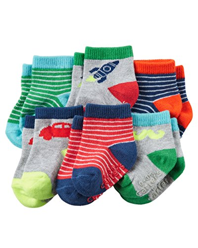 Carter's Baby Boys' 6-Pack Socks, Grey/Multi, 12-24 Months
