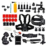 Lemorecn 38in1 Accessory Kit Chest Head Strap Floating Monopod Bundles for Gopro 4 3+ Xiaomi Yi