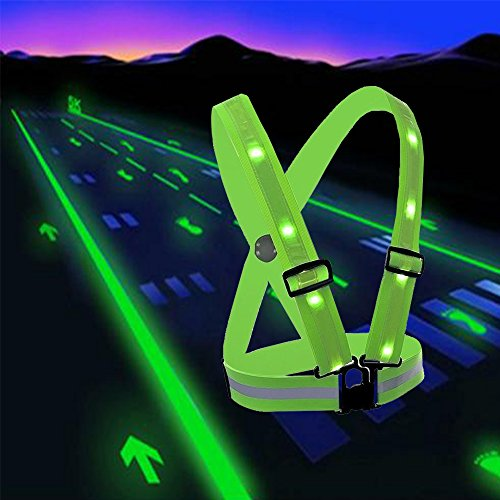 LED Reflective Safety Vest with Storage Pouch - USB Charging Elastic and Adjustable Reflective Running Gear for Outdoor Sports Dog Walking Cycling Motorcycle - LED Glowing Reflector Straps (Green) (Lights Safety Vests)