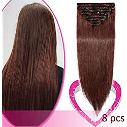"""16"""" Clip in Human Hair Extensions 100% Clip in Remy Human Hair 65g Standard Weft 8 Pcs 18 Clips Straight Hair for Women Beauty #33 Dark Auburn"""