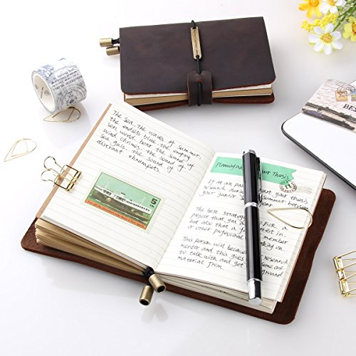 "Refillable Handmade Traveler's Notebook, Leather Travel Journal Notebook for Men & Women, Perfect for Writing, Gifts, Travelers, Small Size 5.2"" x 4"" Inches - Coffee"