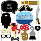 Big Dot of Happiness Ahoy Mates Pirate - Photo Booth Props Kit - 20 Count