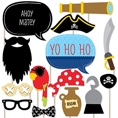 Ahoy Mates! Pirate - Photo Booth Props Kit - 20 Count