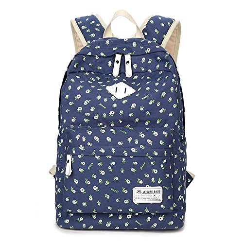 Blue Cute Shoulder Books Travel Canvas for Lightweight Printing Daypack Dark Rucksack School Backpack Laptop Young Teen Girls Classical pq4CU