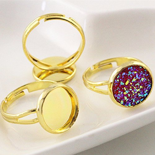 Charm Brass Adjustable Ring Settings Blank Base Fit 12mm Glass Cabochons DIY (Gold) Gold Ring Base
