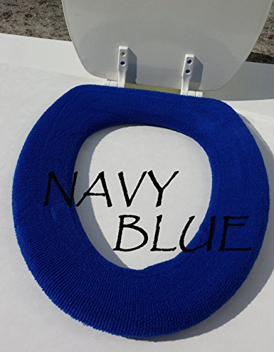 Bathroom Toilet Seat Warmer Cover Washable - pick from 24 colors- LifeLong Needs (Navy Blue)
