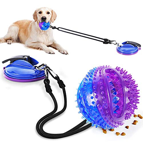 AMZLIFE Suction Cup Dog Chew Toy for Aggressive Chewers, Interactive Puzzle Ball Toy for Large Breed & Medium Dog Teeth Cleaning, Treats Training, Squeaky Tough Rope Tug Toy Gift w/Bell, Blue Purple