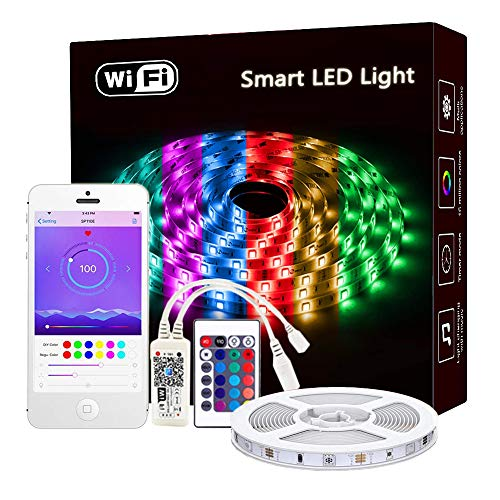 Rusunde LED Strip Lights WiFi Wireless Smart Phone APP Controlled Waterproof Light Strip Kit 5050 LED Lights Sync to Music,Compatible with Alexa,Google Home,IFTTT (Best App For Painting Walls)