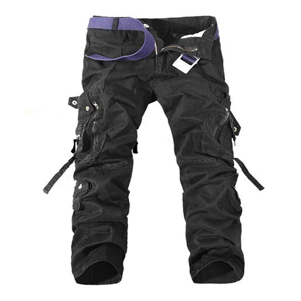 OrchidAmor Mens Casual Pleated Multi Zipper Pockets Mid Waist Solid Loose Long Pants at Amazon Mens Clothing store: