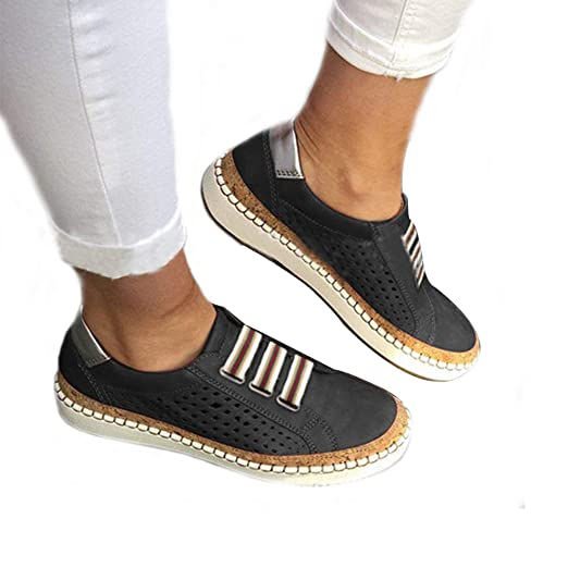 d6d6629fd159b Slide Hollow-Out Round Toe Casual Women Sneakers Slip On Flat Shoes Summer  Lazy Shoes Sneakers for Women Breathable Flat Heel