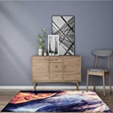 for Home or Travel abstract color dynamic background with lighting effect futuristic bright painting texture Easier to Dry for Bathroom 5' X 7'