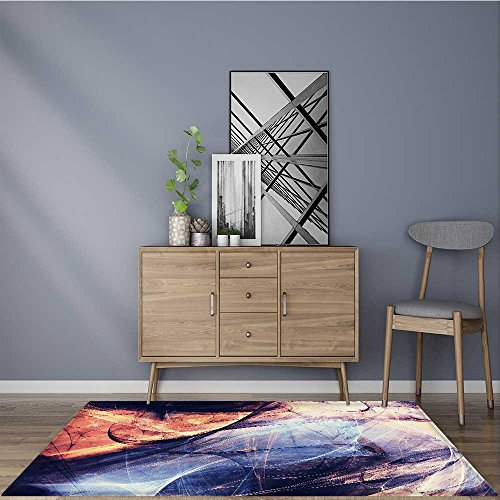 for Home or Travel abstract color dynamic background with lighting effect futuristic bright painting texture Easier to Dry for Bathroom 5' X 7' by L-QN