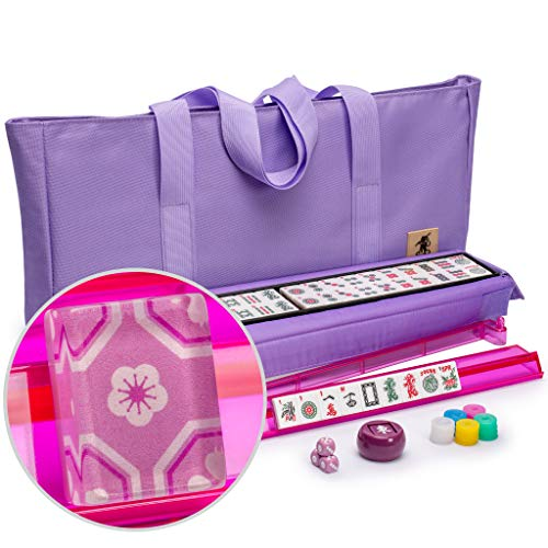 Yellow Mountain Imports American Mahjong Set, Sakura with Purple Fabric Case - All-in-One Racks with Pushers, Wright Patterson Betting Coins, Dice, & Wind Indicator