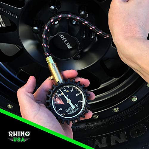 Rhino USA Heavy Duty Tire Pressure Gauge (0-75 PSI) - Certified ANSI B40.1 Accurate, Large 2'' Easy Read Glow Dial, Premium Braided Hose, Solid Brass Hardware, Best for Any Car, Truck, Motorcycle, RV… by Rhino USA (Image #4)