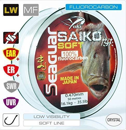 Hilo de Pescar bajo de l/ínea Hecho en Jap/ón POSEIDON Fluorocarbono Seaguar Soft /& Stiff 100/% Fluorocarbono