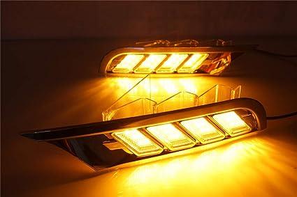 Amazoncom 1pair Whiteyellow Led Daytime Running Lights Fog Lamps