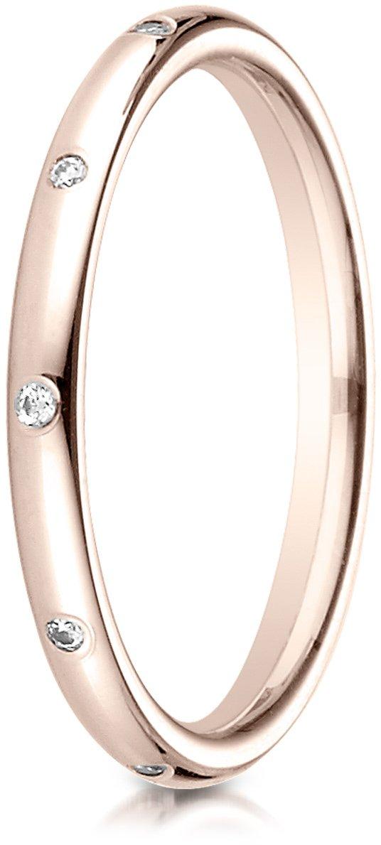Benchmark 14K Rose Gold 2mm Comfort-Fit Burnish Set 10-Stone Diamond Eternity Wedding Band (.10Ct)