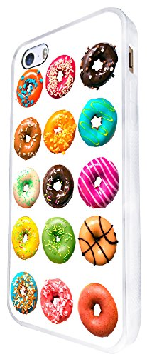 1513 - Cool Fun Trendy Cute Donuts Colourful Sweets Candy Cartoon Kawaii Collage Design iphone SE - 2016 Coque Fashion Trend Case Coque Protection Cover plastique et métal - Blanc