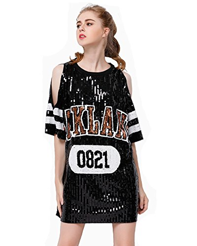 Dress Hip Hop (P&R Sparkle Glitter Sequins Hip Hop Jazz Dancing T-Shirt Dress Plus Size Clubwear,Black)