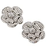 ElegantPark AF Rhinestones Rose Flower Decoration Wedding Party Silver Shoe Clips 2 Pcs