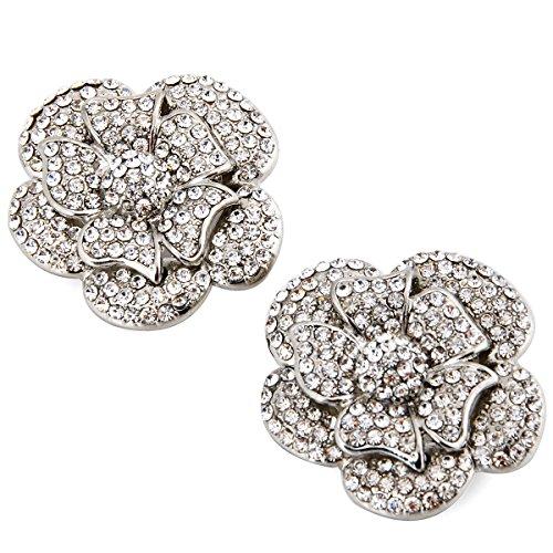ElegantPark AF Rhinestones Rose Flower Decoration Wedding Party Silver Shoe Clips 2 Pcs