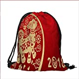 Travel Drawstring Closure Bag year window paper cut Gift Bag Pouches 13''W x 18''H