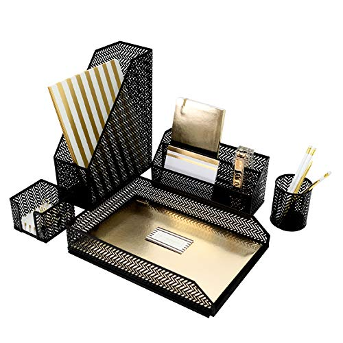 - Blu Monaco Black Desk Organizer - 5 Piece Desk Accessories Set - Letter - Mail Organizer, Sticky Note Holder, Pen Cup, Magazine File Holder, Paper - Document Tray - Black