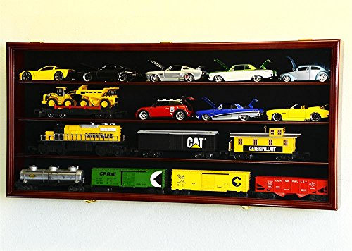 O Scale Train Display Case Cabinet Wall Rack w/UV Protection- Lockable -Cherry